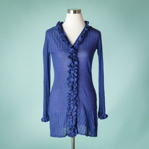 Anne Fontaine 42/M Blue Ruffle Ribbed Cardigan